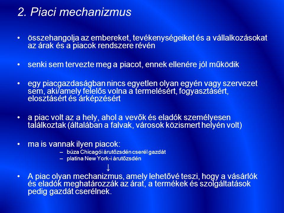 2. Piaci mechanizmus összehangolja az embereket, tevékenységeiket és a vállalkozásokat az árak és a piacok rendszere révén senki sem tervezte meg a pi