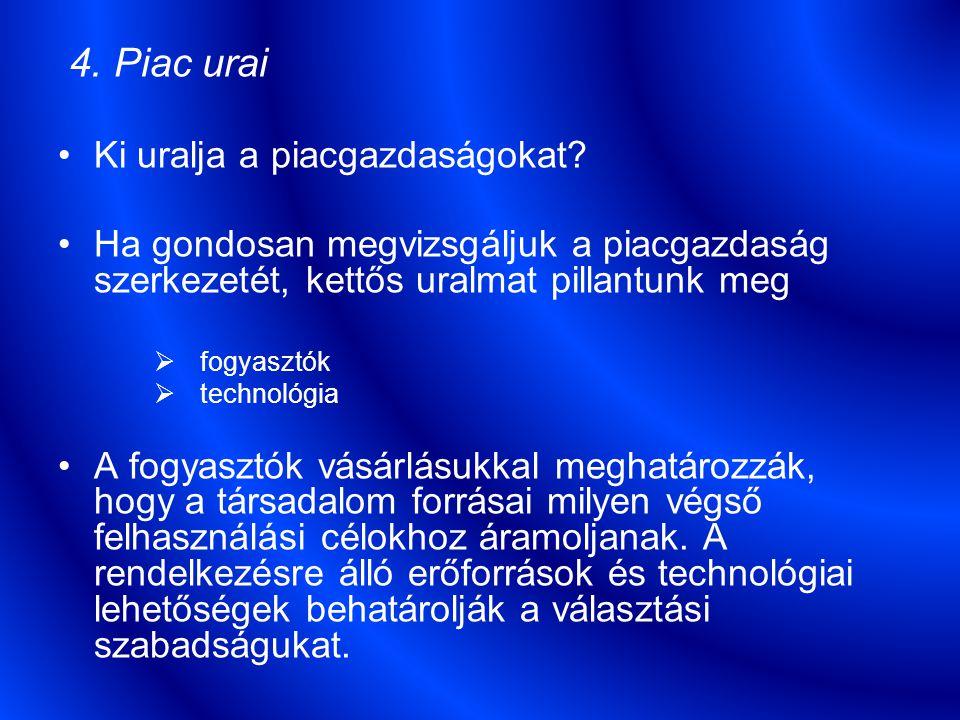 4.Piac urai Ki uralja a piacgazdaságokat.