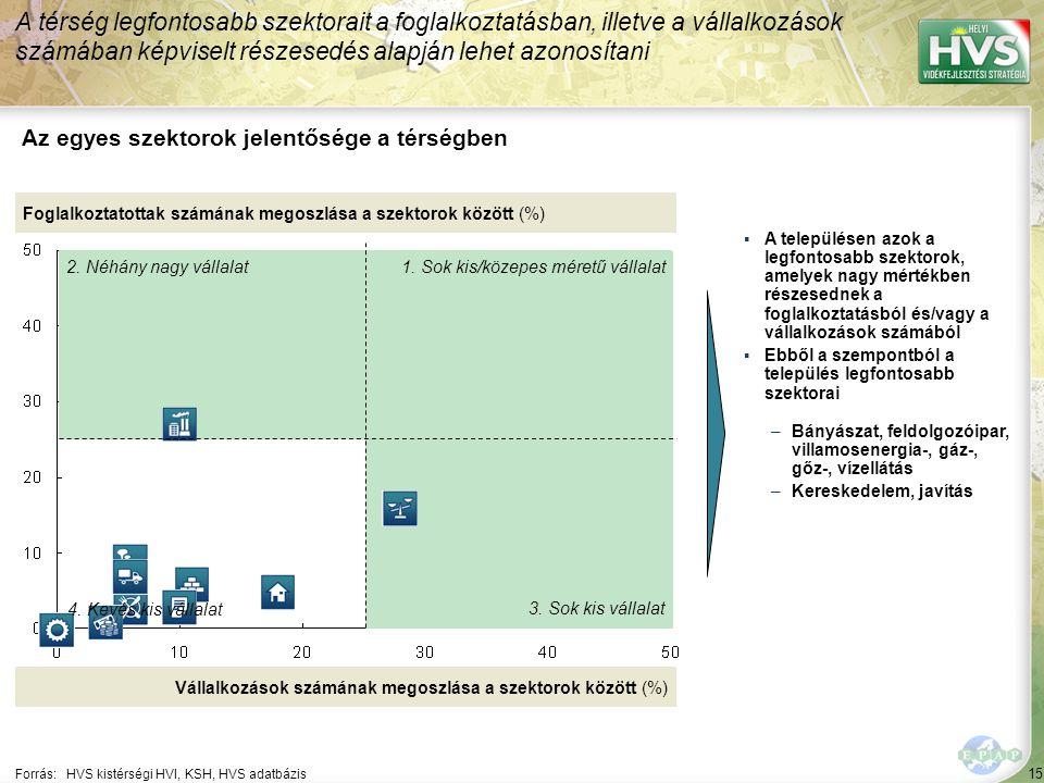 15 Forrás:HVS kistérségi HVI, KSH, HVS adatbázis Az egyes szektorok jelentősége a térségben A térség legfontosabb szektorait a foglalkoztatásban, illetve a vállalkozások számában képviselt részesedés alapján lehet azonosítani Foglalkoztatottak számának megoszlása a szektorok között (%) Vállalkozások számának megoszlása a szektorok között (%) ▪A településen azok a legfontosabb szektorok, amelyek nagy mértékben részesednek a foglalkoztatásból és/vagy a vállalkozások számából ▪Ebből a szempontból a település legfontosabb szektorai –Bányászat, feldolgozóipar, villamosenergia-, gáz-, gőz-, vízellátás –Kereskedelem, javítás 1.