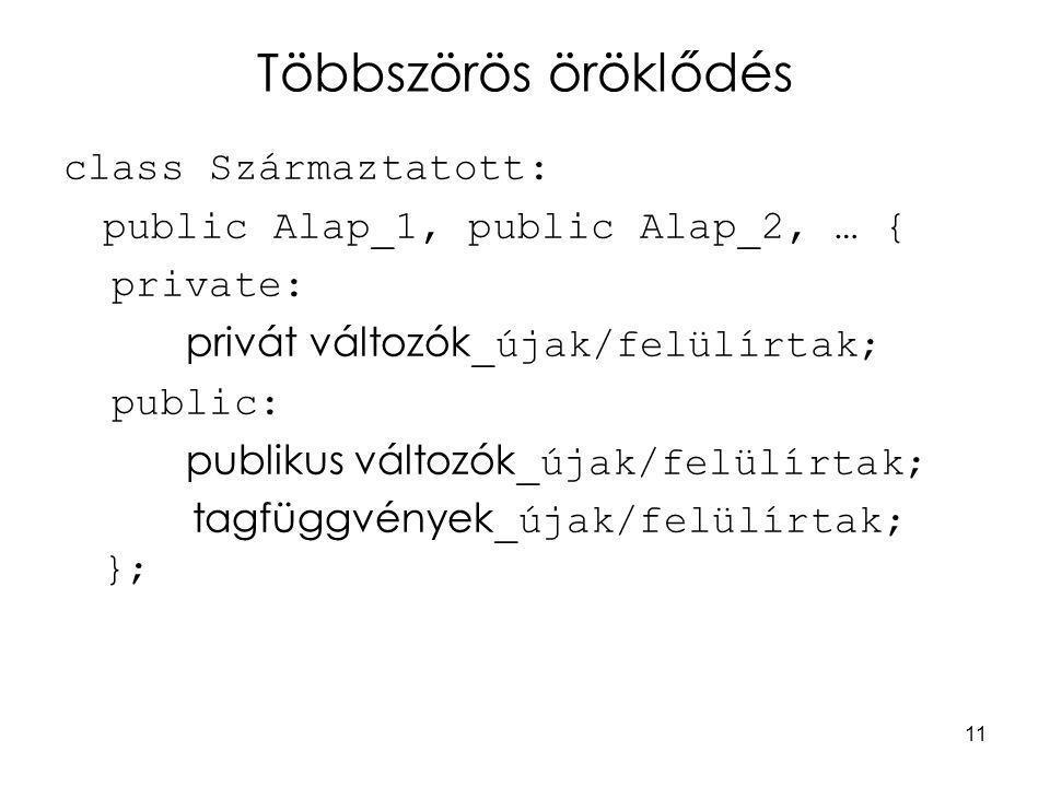 11 Többszörös öröklődés class Származtatott: public Alap_1, public Alap_2, … { private: privát változók _újak/felülírtak; public: publikus változók _újak/felülírtak; tagfüggvények _újak/felülírtak; };
