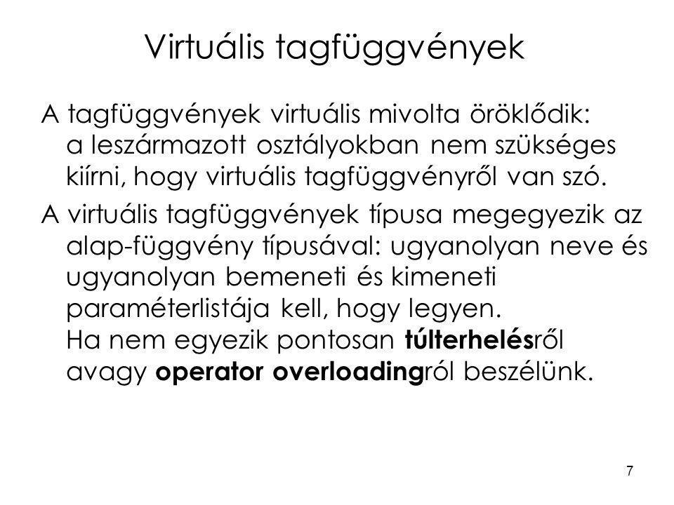 7 Virtuális tagfüggvények A tagfüggvények virtuális mivolta öröklődik: a leszármazott osztályokban nem szükséges kiírni, hogy virtuális tagfüggvényről van szó.
