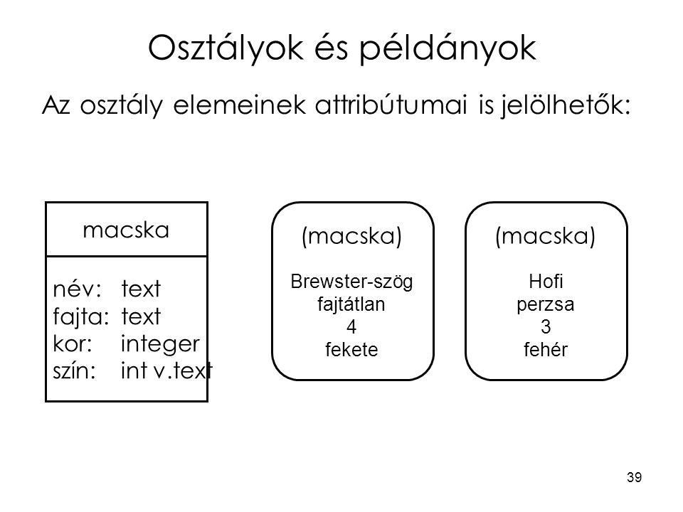 39 Osztályok és példányok Az osztály elemeinek attribútumai is jelölhetők: név: text fajta:text kor: integer szín: int v.text (macska) Brewster-szög f