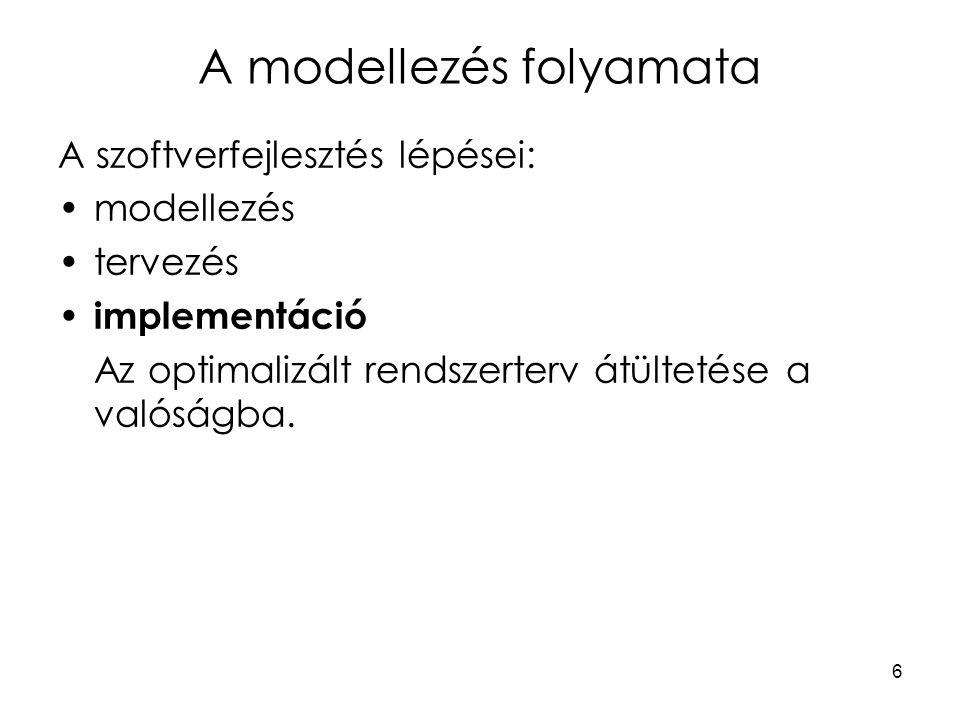 7 A modellezés folyamata Absztrakció : olyan gondolkodási művelet, amely segítségével a dolgok számunkra fontos tulajdonságait elválasztjuk a nem fontosaktól – az általános tulajdonságokat elkülönítjük az egyediektől.