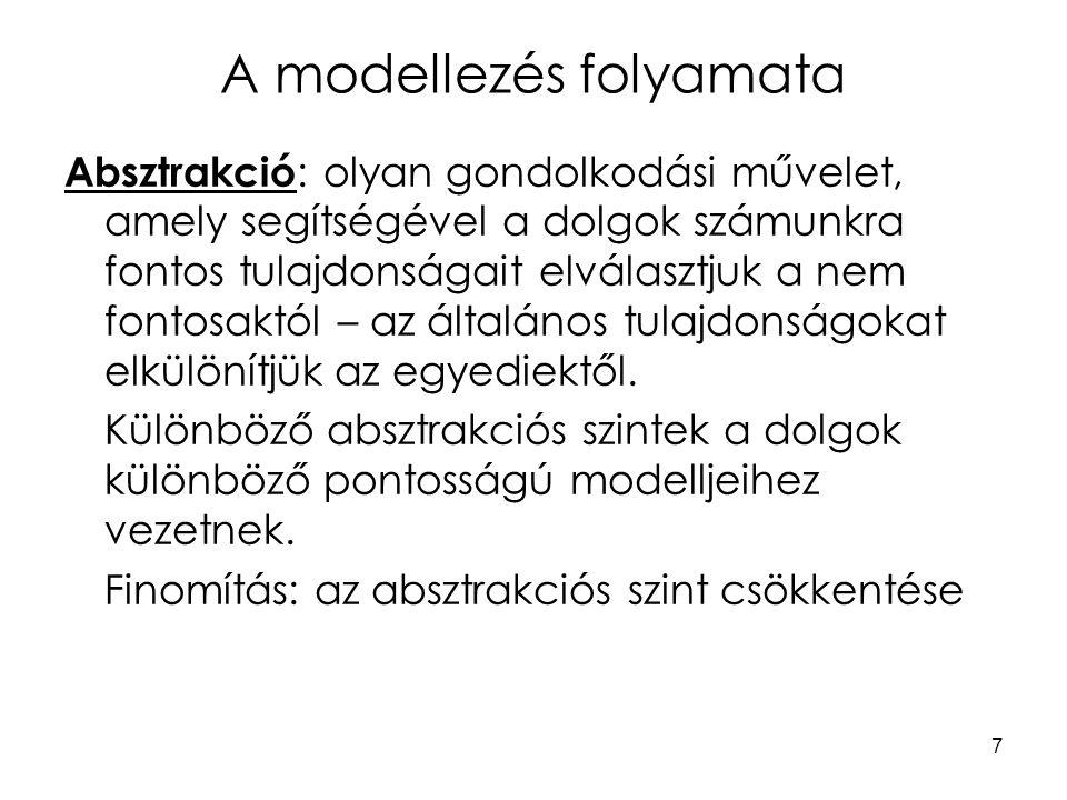 7 A modellezés folyamata Absztrakció : olyan gondolkodási művelet, amely segítségével a dolgok számunkra fontos tulajdonságait elválasztjuk a nem font