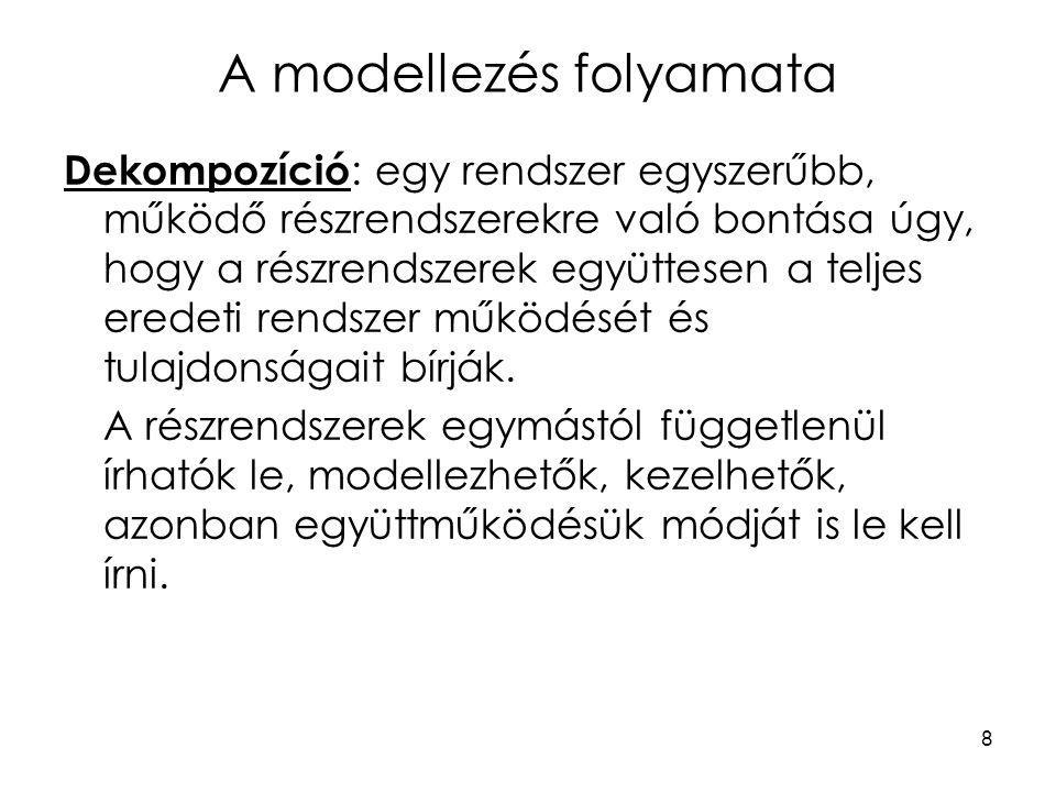 8 A modellezés folyamata Dekompozíció : egy rendszer egyszerűbb, működő részrendszerekre való bontása úgy, hogy a részrendszerek együttesen a teljes e