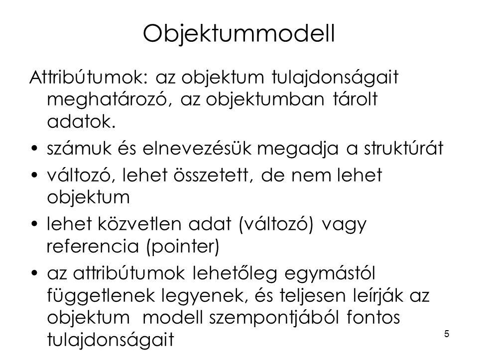 5 Objektummodell Attribútumok: az objektum tulajdonságait meghatározó, az objektumban tárolt adatok.