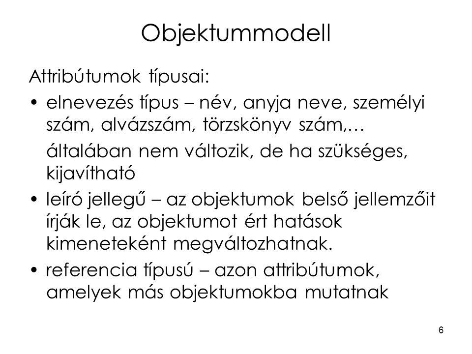 27 Dinamikus modell A sztatikus modell (objektummodell) nem elegendő, a vezérléshez szükséges az időbeli viselkedés leírása is.