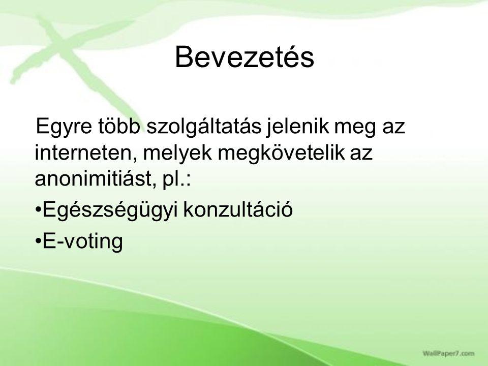 Bevezetés Egyre több szolgáltatás jelenik meg az interneten, melyek megkövetelik az anonimitiást, pl.: Egészségügyi konzultáció E-voting