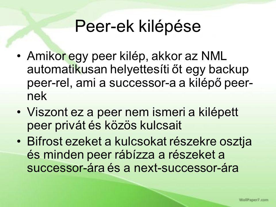 Peer-ek kilépése Amikor egy peer kilép, akkor az NML automatikusan helyettesíti őt egy backup peer-rel, ami a successor-a a kilépő peer- nek Viszont ez a peer nem ismeri a kilépett peer privát és közös kulcsait Bifrost ezeket a kulcsokat részekre osztja és minden peer rábízza a részeket a successor-ára és a next-successor-ára