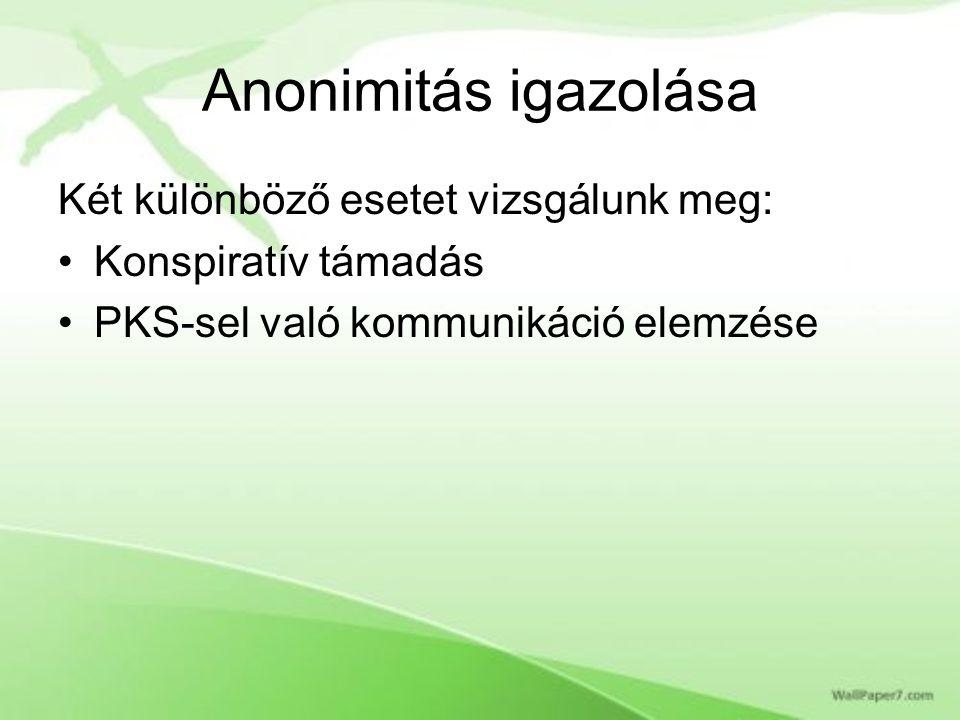 Anonimitás igazolása Két különböző esetet vizsgálunk meg: Konspiratív támadás PKS-sel való kommunikáció elemzése