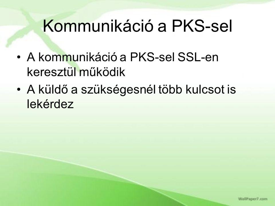 Kommunikáció a PKS-sel A kommunikáció a PKS-sel SSL-en keresztül működik A küldő a szükségesnél több kulcsot is lekérdez