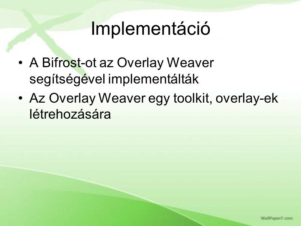 Implementáció A Bifrost-ot az Overlay Weaver segítségével implementálták Az Overlay Weaver egy toolkit, overlay-ek létrehozására