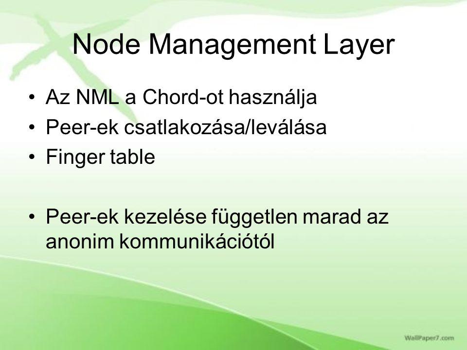 Node Management Layer Az NML a Chord-ot használja Peer-ek csatlakozása/leválása Finger table Peer-ek kezelése független marad az anonim kommunikációtól