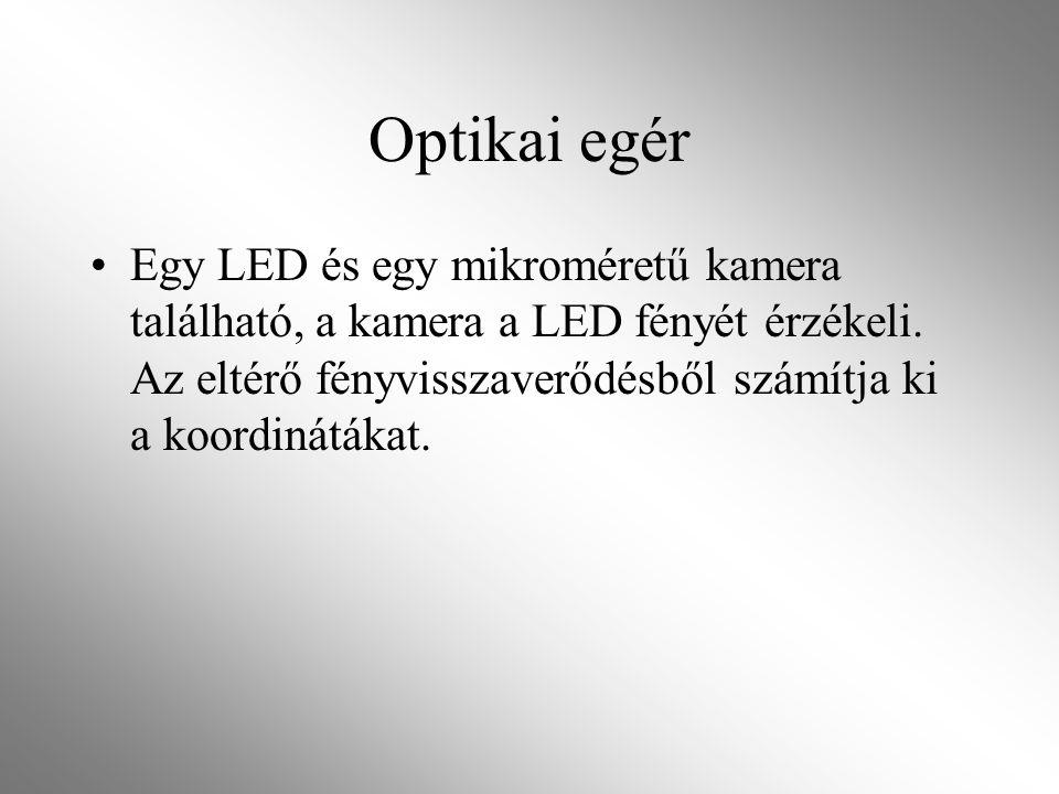 Optikai egér Egy LED és egy mikroméretű kamera található, a kamera a LED fényét érzékeli.
