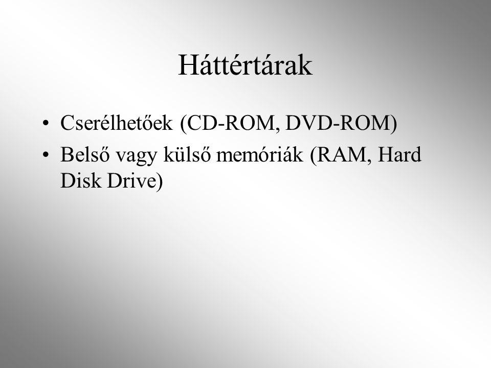 Háttértárak Cserélhetőek (CD-ROM, DVD-ROM) Belső vagy külső memóriák (RAM, Hard Disk Drive)