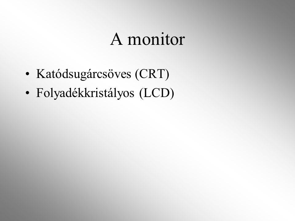 A monitor Katódsugárcsöves (CRT) Folyadékkristályos (LCD)