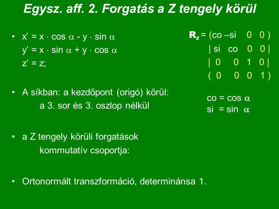 Egysz. aff. 2. Forgatás a Z tengely körül x' = x  cos  - y  sin  y' = x  sin  + y  cos  z' = z; A síkban: a kezdőpont (origó) körül: a 3. sor