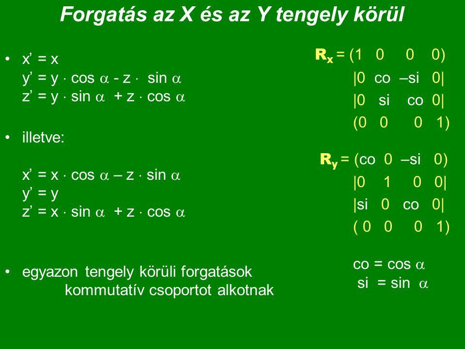 Forgatás az X és az Y tengely körül x' = x y' = y  cos  - z  sin  z' = y  sin  + z  cos  illetve: x' = x  cos  – z  sin  y' = y z' = x  s
