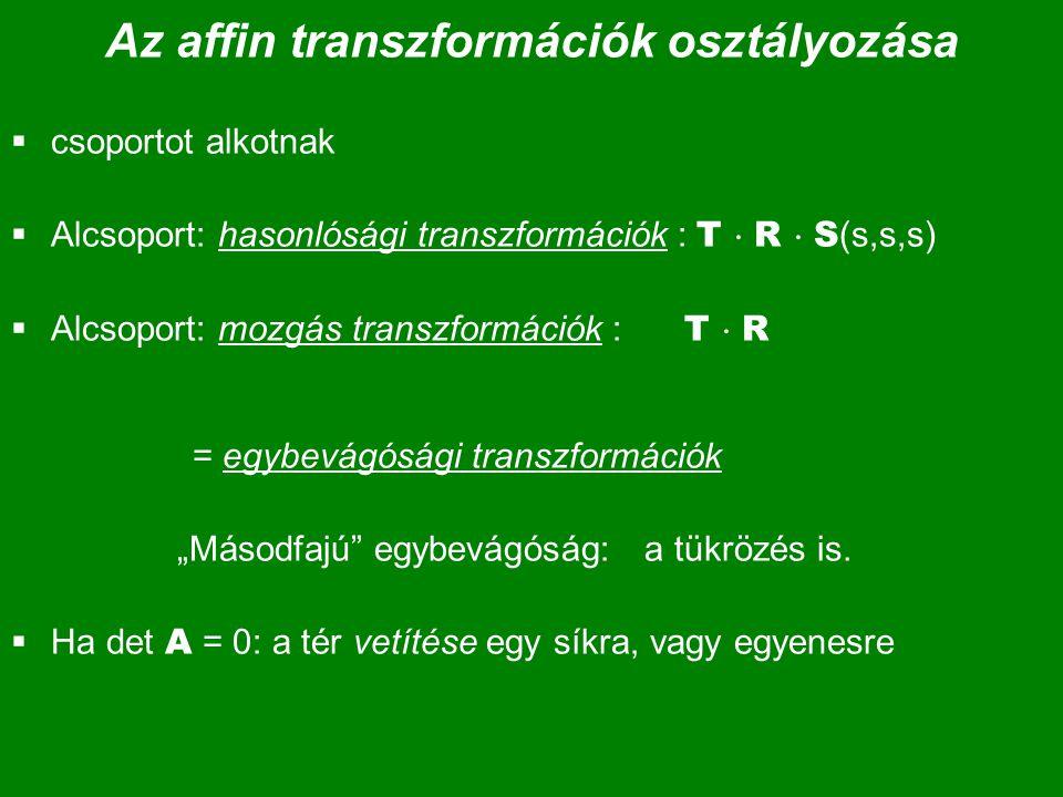 Az affin transzformációk osztályozása  csoportot alkotnak  Alcsoport: hasonlósági transzformációk : T  R  S (s,s,s)  Alcsoport: mozgás transzform
