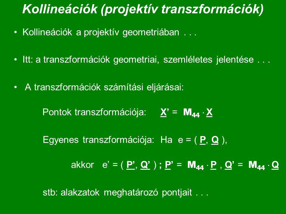 Kollineációk (projektív transzformációk) Kollineációk a projektív geometriában... Itt: a transzformációk geometriai, szemléletes jelentése... A transz