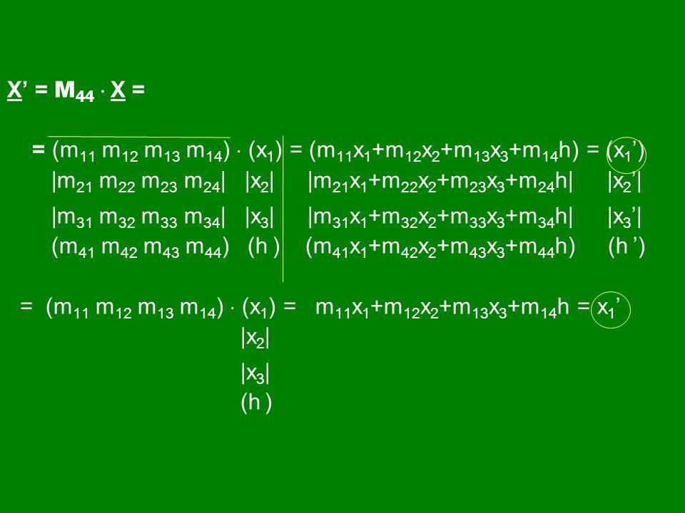 X' = M 44  X = = (m 11 m 12 m 13 m 14 )  (x 1 ) = (m 11 x 1 +m 12 x 2 +m 13 x 3 +m 14 h) = (x 1 ') |m 21 m 22 m 23 m 24 | |x 2 | |m 21 x 1 +m 22 x 2