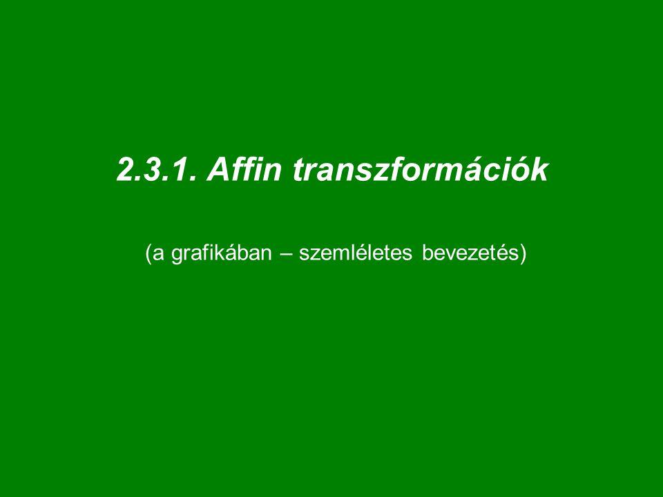 """Affin transzformáció megadása: 4-4 pont  E 3 egy affinitását meghatározza 4 """"független pont és képe."""