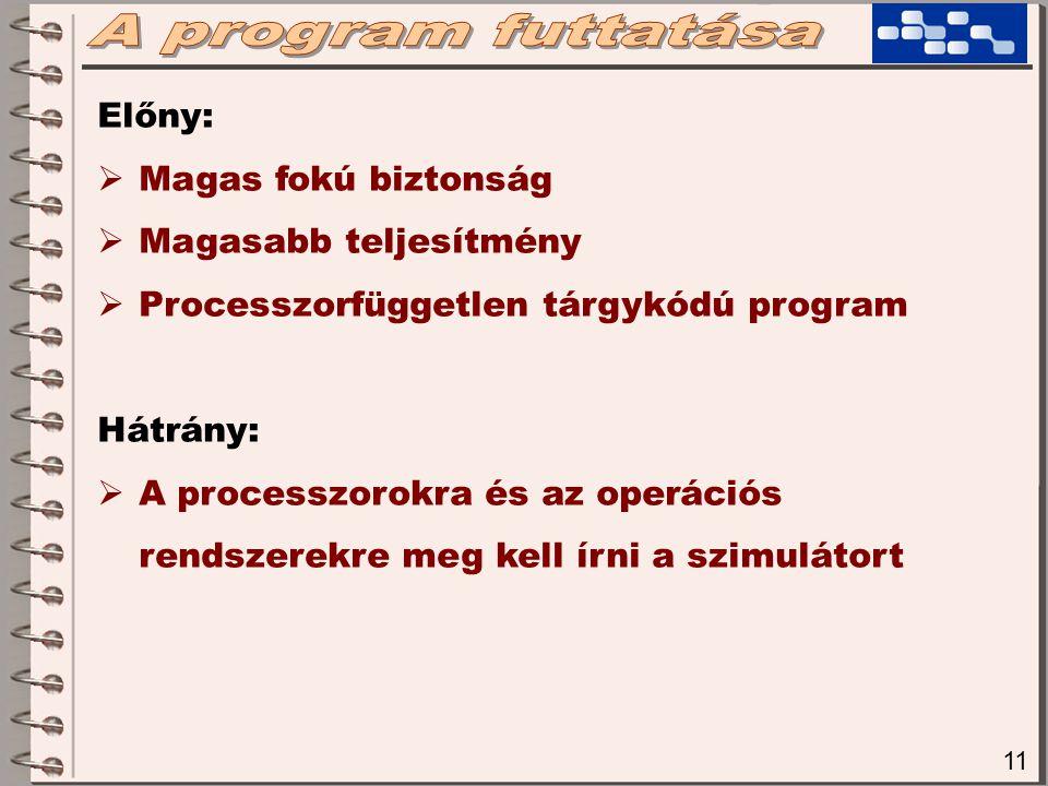 11 Előny:  Magas fokú biztonság  Magasabb teljesítmény  Processzorfüggetlen tárgykódú program Hátrány:  A processzorokra és az operációs rendszerekre meg kell írni a szimulátort