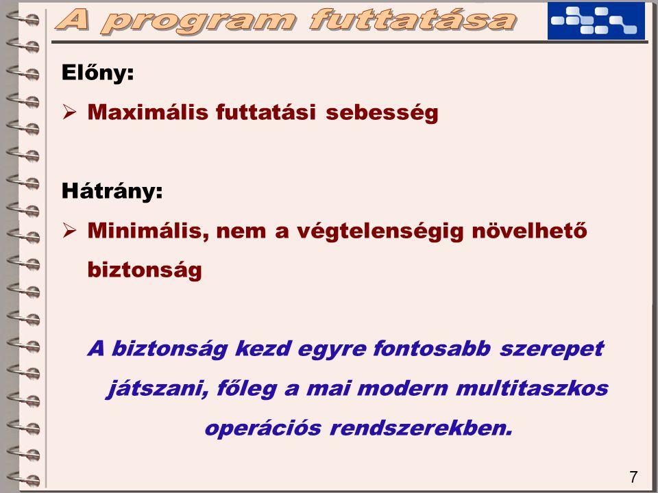 8 Interpreter:  A forráskódot apró blokkonként (pl soronként) röptében elemzi ki egy speciális program, mely alaposan ismeri az adott nyelv lehetőségeit.