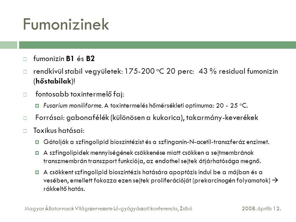 Fumonizinek  fumonizin B1 és B2  rendkívül stabil vegyületek: 175-200 o C 20 perc: 43 % residual fumonizin (hőstabilak)!  fontosabb toxintermelő fa