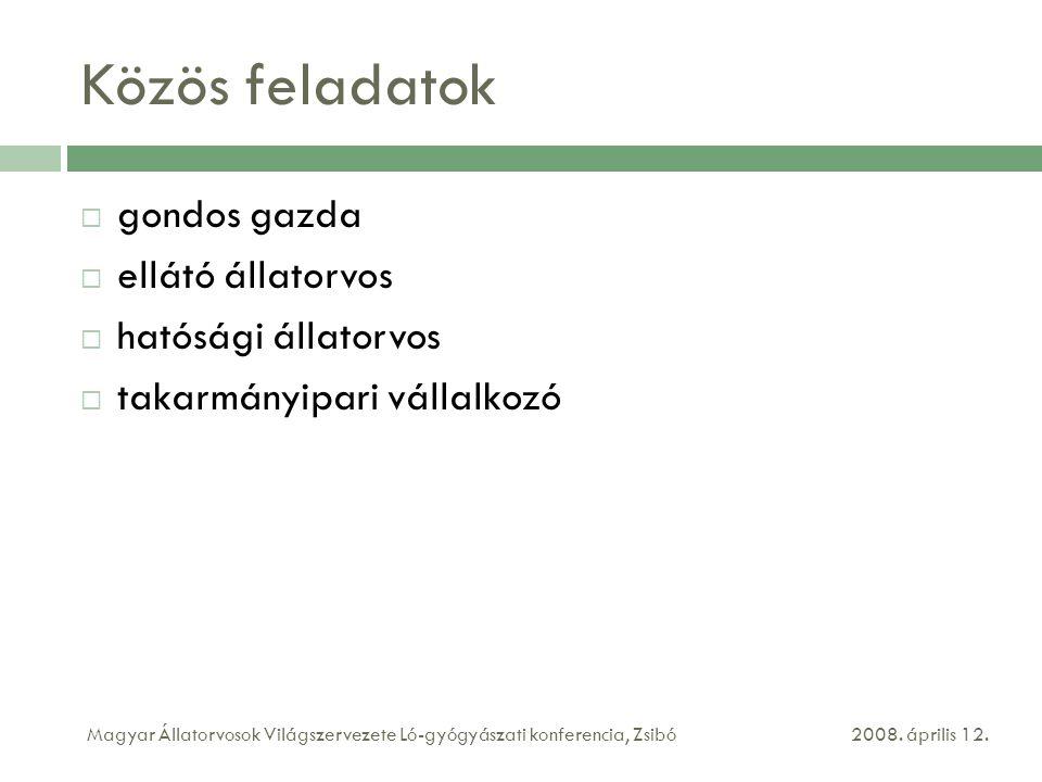 Közös feladatok  gondos gazda  ellátó állatorvos  hatósági állatorvos  takarmányipari vállalkozó 2008. április 12.Magyar Állatorvosok Világszervez