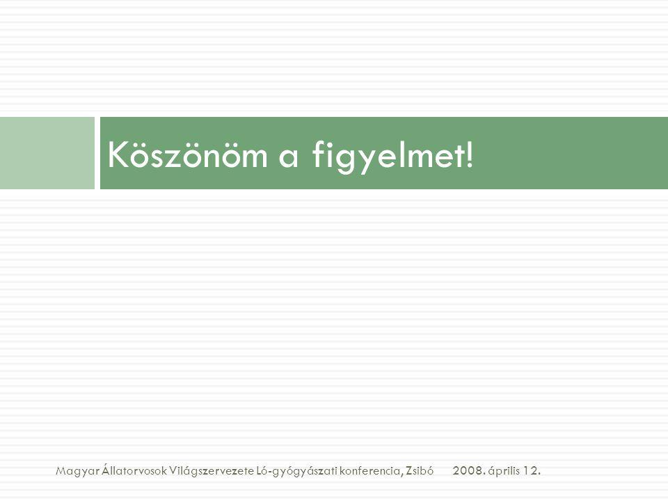 Köszönöm a figyelmet! 2008. április 12.Magyar Állatorvosok Világszervezete Ló-gyógyászati konferencia, Zsibó