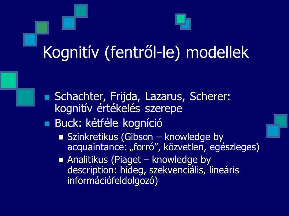 """Kognitív (fentről-le) modellek Schachter, Frijda, Lazarus, Scherer: kognitív értékelés szerepe Buck: kétféle kogníció Szinkretikus (Gibson – knowledge by acquaintance: """"forró , közvetlen, egészleges) Analitikus (Piaget – knowledge by description: hideg, szekvenciális, lineáris információfeldolgozó)"""