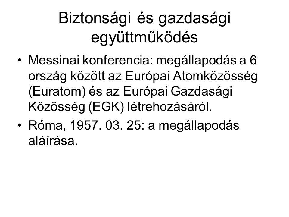 A 3 közösség közeledése Montanunió, Euratom és EGK közös szerveket hoztak létre: 1958: Európai Parlament, Bíróság; 1967: Bizottság, Európai Tanács; 1977: Számvevőszék 1967-ben a három közösség egyesült: Európai Közösségek (EK)