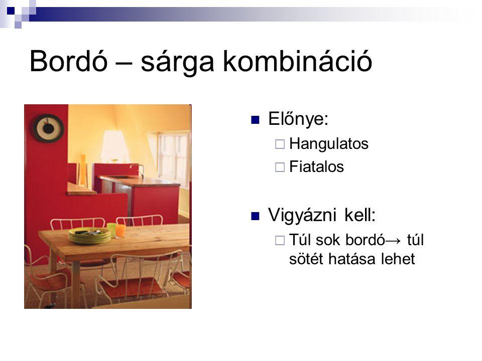 Bordó – sárga kombináció Előnye:  Hangulatos  Fiatalos Vigyázni kell:  Túl sok bordó→ túl sötét hatása lehet