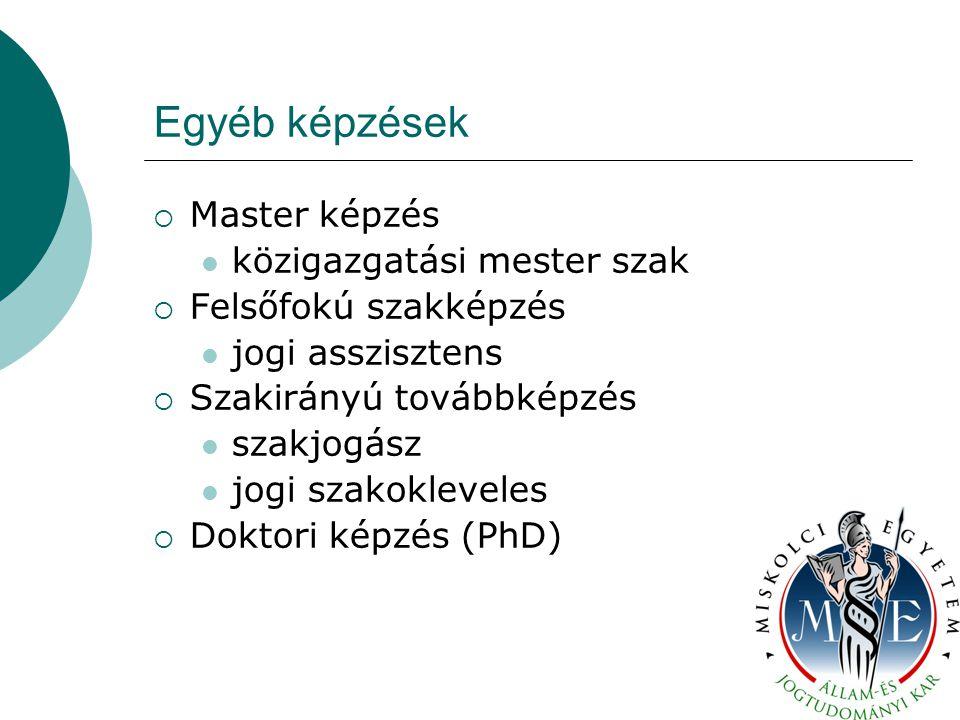 Egyéb képzések  Master képzés közigazgatási mester szak  Felsőfokú szakképzés jogi asszisztens  Szakirányú továbbképzés szakjogász jogi szakokleveles  Doktori képzés (PhD)