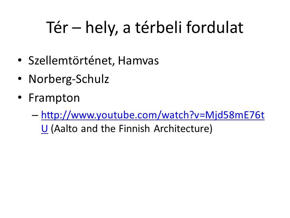 Tér – hely, a térbeli fordulat Szellemtörténet, Hamvas Norberg-Schulz Frampton – http://www.youtube.com/watch?v=Mjd58mE76t U (Aalto and the Finnish Architecture) http://www.youtube.com/watch?v=Mjd58mE76t U