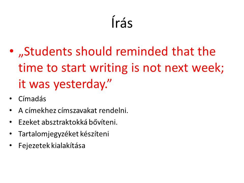"""Írás """"Students should reminded that the time to start writing is not next week; it was yesterday. Címadás A címekhez címszavakat rendelni."""