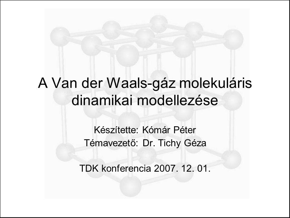 A Van der Waals-gáz molekuláris dinamikai modellezése Készítette: Kómár Péter Témavezető: Dr.