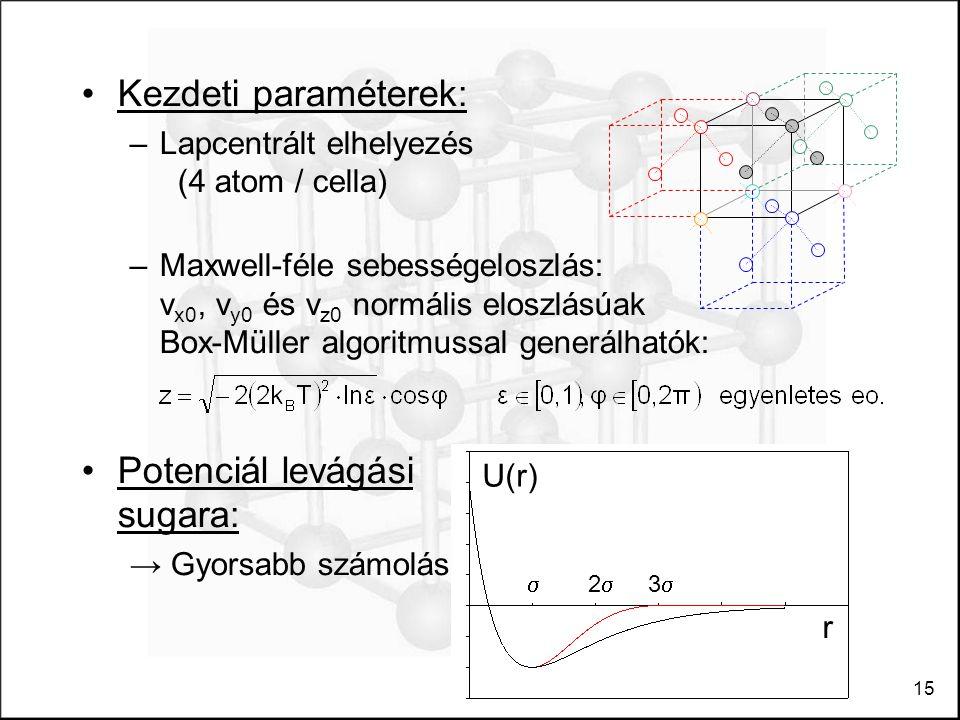 15 Kezdeti paraméterek: –Lapcentrált elhelyezés (4 atom / cella) –Maxwell-féle sebességeloszlás: v x0, v y0 és v z0 normális eloszlásúak Box-Müller algoritmussal generálhatók: Potenciál levágási sugara: → Gyorsabb számolás U(r) 33 22 r