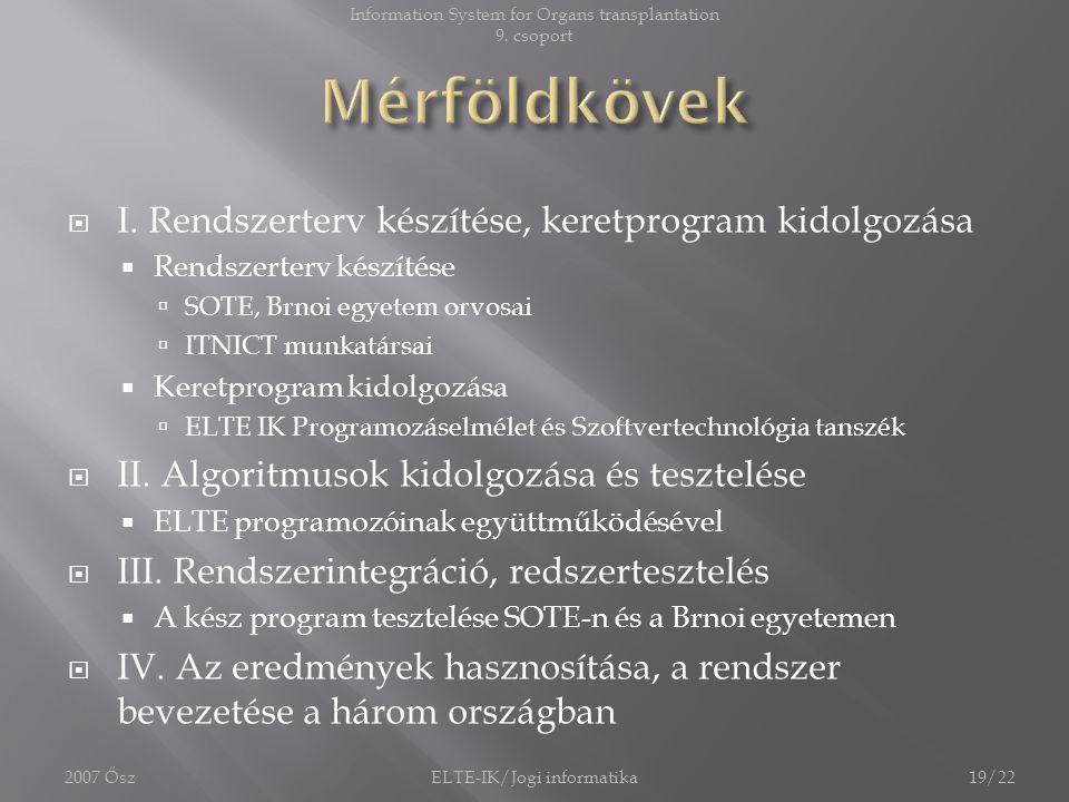 I. Rendszerterv készítése, keretprogram kidolgozása  Rendszerterv készítése  SOTE, Brnoi egyetem orvosai  ITNICT munkatársai  Keretprogram kidol