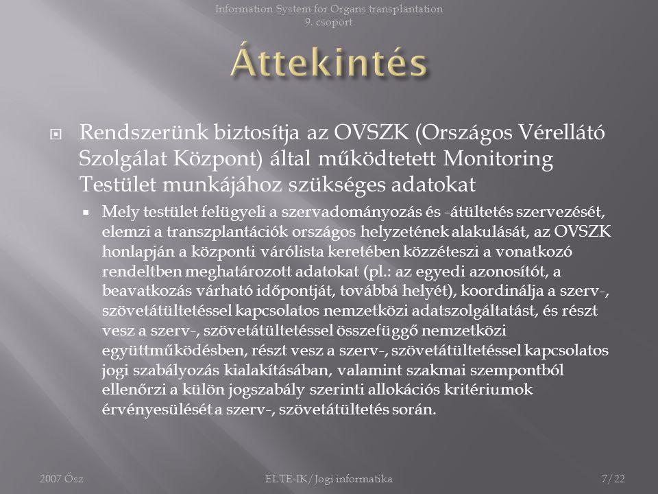  Rendszerünk biztosítja az OVSZK (Országos Vérellátó Szolgálat Központ) által működtetett Monitoring Testület munkájához szükséges adatokat  Mely te