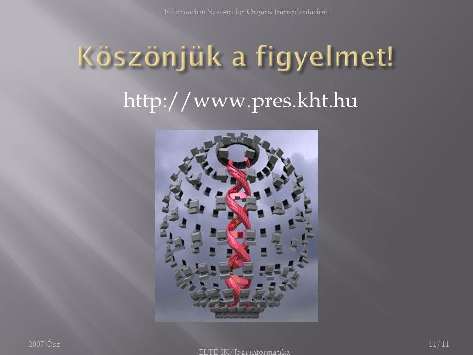 2007 Ősz Information System for Organs transplantation 11/11 http://www.pres.kht.hu ELTE-IK/Jogi informatika
