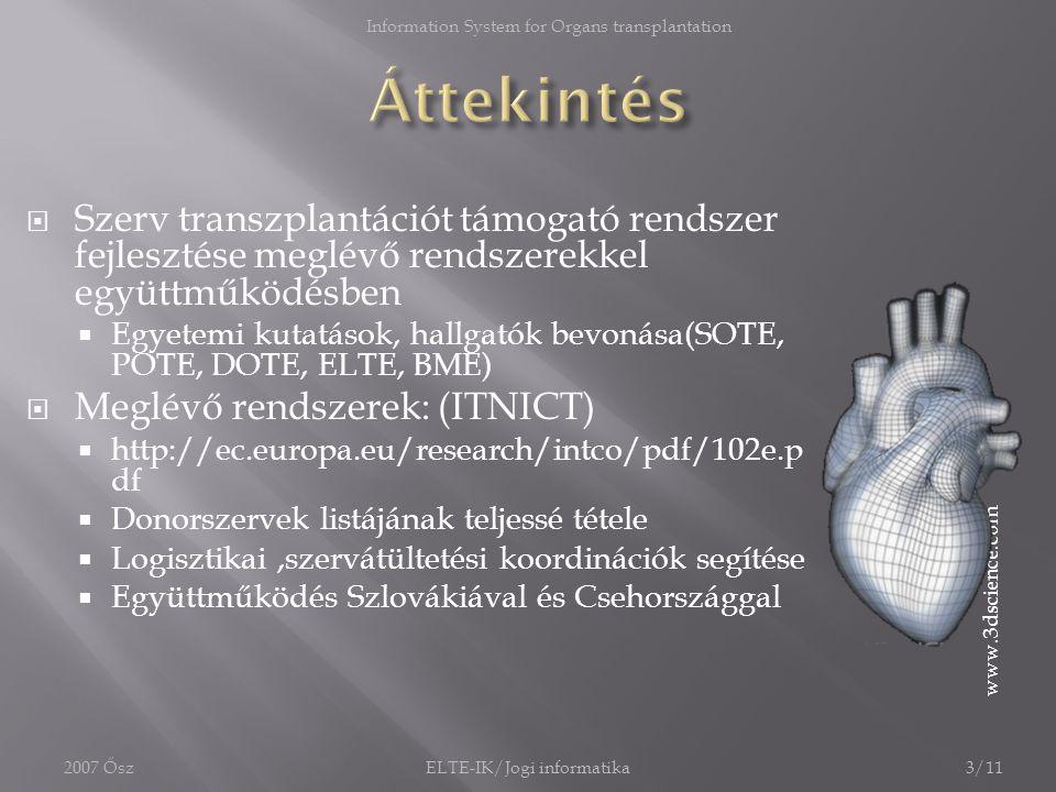  Gyors, akár percenként változó donorlisták  EDS csak napi frissítés  BMDW csak hatszor frissít egy évben  (Ambient Intelligence) Intelligens donor- recipiens kapcsolatok kezelése  Azonnali frissítés és összekapcsolás  Egyszerűbb munkavégzés orvosok számára  (Ambient Intelligence) által gyorsabb döntések támogatása 4/11ELTE-IK/Jogi informatika2007 Ősz Information System for Organs transplantation