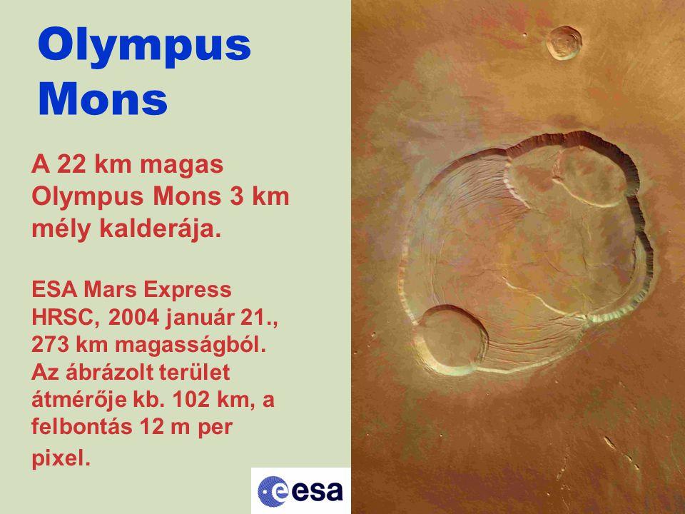 Olympus Mons A 22 km magas Olympus Mons 3 km mély kalderája. ESA Mars Express HRSC, 2004 január 21., 273 km magasságból. Az ábrázolt terület átmérője