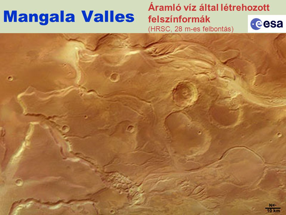 Mangala Valles Áramló víz által létrehozott felszínformák (HRSC, 28 m-es felbontás)