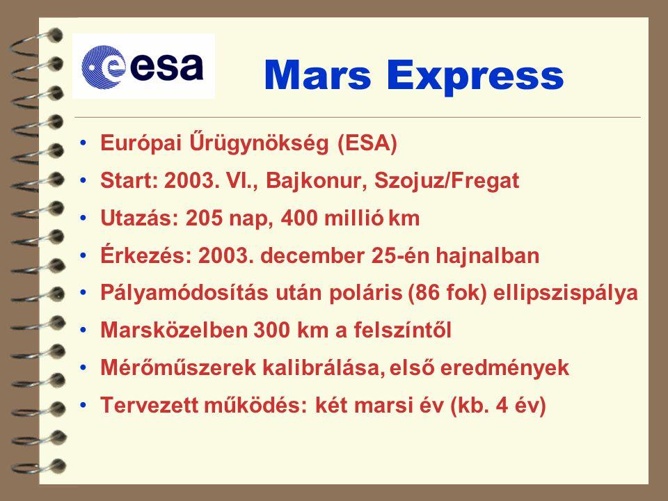 Mars Express Európai Űrügynökség (ESA) Start: 2003. VI., Bajkonur, Szojuz/Fregat Utazás: 205 nap, 400 millió km Érkezés: 2003. december 25-én hajnalba