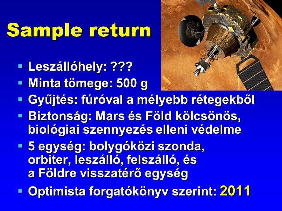Sample return  Leszállóhely: ???  Minta tömege: 500 g  Gyűjtés: fúróval a mélyebb rétegekből  Biztonság: Mars és Föld kölcsönös, biológiai szennye