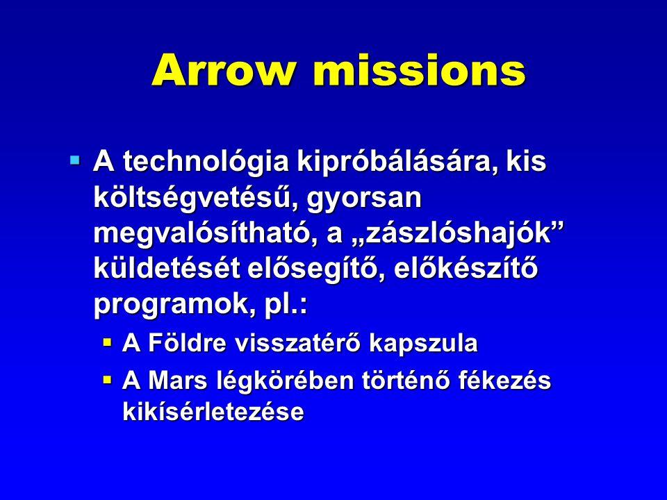 """Arrow missions  A technológia kipróbálására, kis költségvetésű, gyorsan megvalósítható, a """"zászlóshajók"""" küldetését elősegítő, előkészítő programok,"""