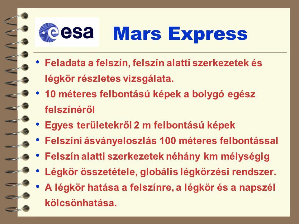 Mars Express Feladata a felszín, felszín alatti szerkezetek és légkör részletes vizsgálata. 10 méteres felbontású képek a bolygó egész felszínéről Egy