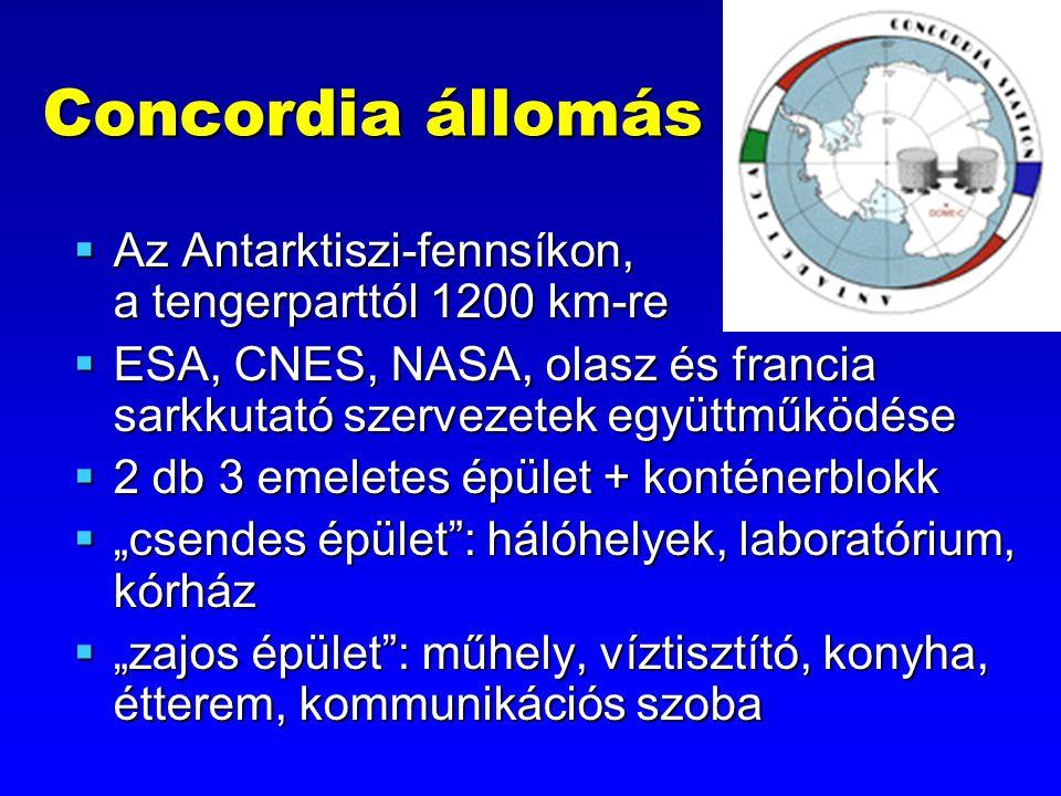 """Concordia állomás  Az Antarktiszi-fennsíkon, a tengerparttól 1200 km-re  ESA, CNES, NASA, olasz és francia sarkkutató szervezetek együttműködése  2 db 3 emeletes épület + konténerblokk  """"csendes épület : hálóhelyek, laboratórium, kórház  """"zajos épület : műhely, víztisztító, konyha, étterem, kommunikációs szoba"""